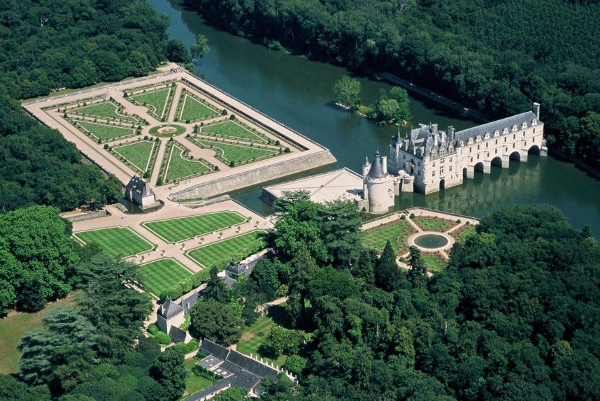 Замок Шенонсо, птичий полет